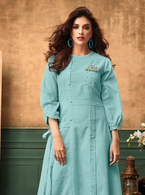 Embroidered Cotton Satin Blue Designer Kurti
