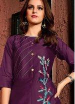 Embroidered Cotton Satin Party Wear Kurti