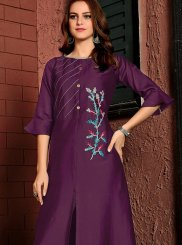 Embroidered Cotton Satin Party Wear Kurti