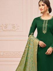 Embroidered Cotton Silk Churidar Salwar Suit