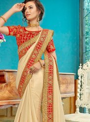 Embroidered Cotton Silk Cream Traditional Designer Saree