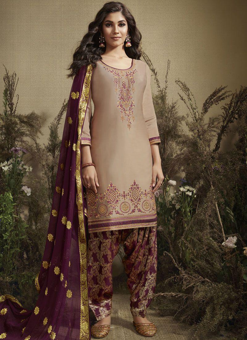 Embroidered Cotton Silk Designer Patiala Salwar Kameez