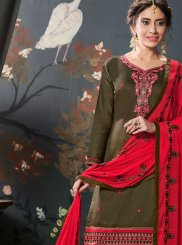 Embroidered Cotton Silk Designer Patiala Suit