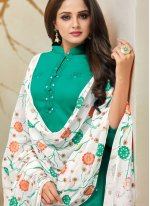 Embroidered Cotton Silk Palazzo Designer Salwar Kameez in Teal
