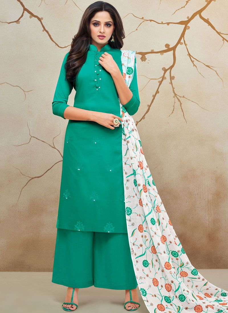 Embroidered Cotton Silk Palazzo Designer Salwar Kameez in Teal