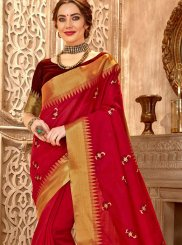 Embroidered Cotton Silk Traditional Saree in Red