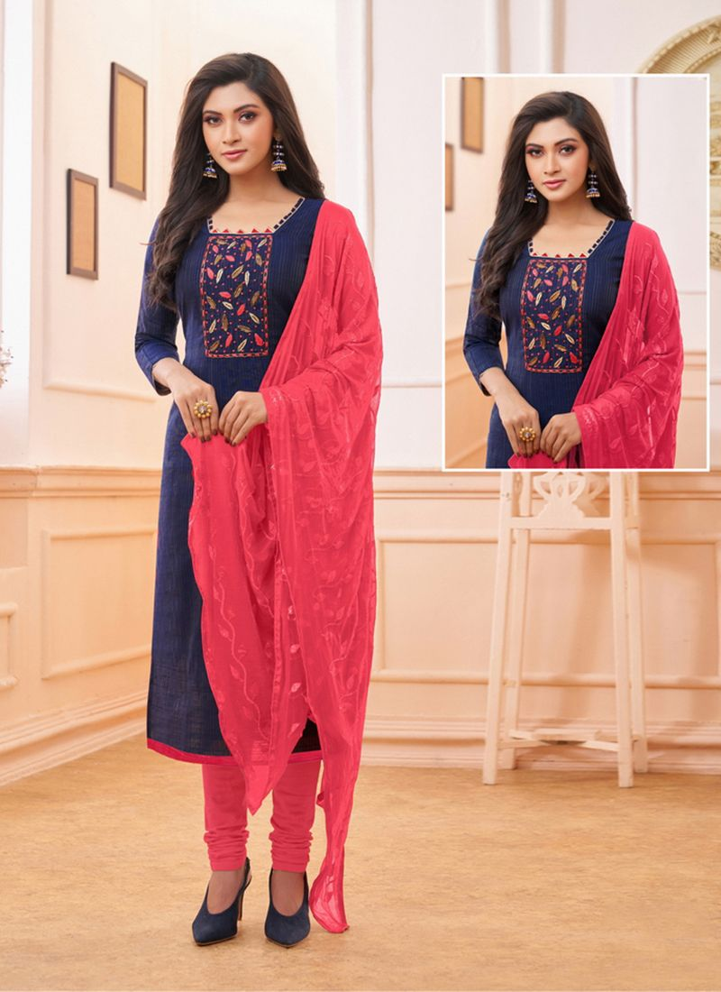 Embroidered Cotton Trendy Churidar Salwar Suit in Navy Blue