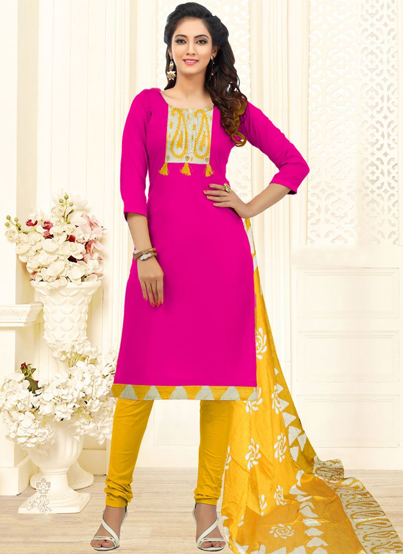 Embroidered Cotton Trendy Churidar Suit