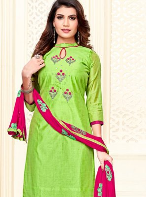 Embroidered Cotton Trendy Churidar Suit in Green
