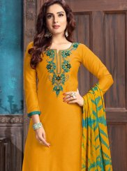 Embroidered Cotton Yellow Designer Patiala Suit