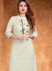 Embroidered Cream Cotton Casual Kurti