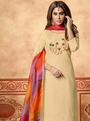 Embroidered Cream Cotton Designer Straight Suit