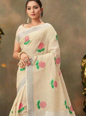 Embroidered Cream Cotton Trendy Saree