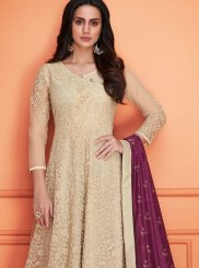Embroidered Cream Designer Palazzo Salwar Kameez