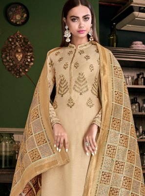 Embroidered Cream Designer Palazzo Suit