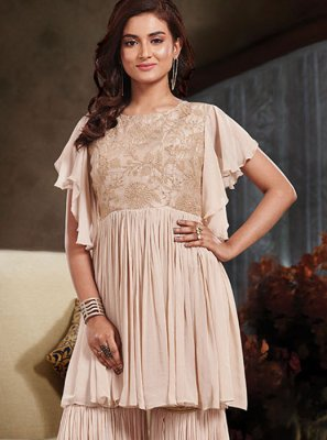 Embroidered Cream Designer Salwar Kameez