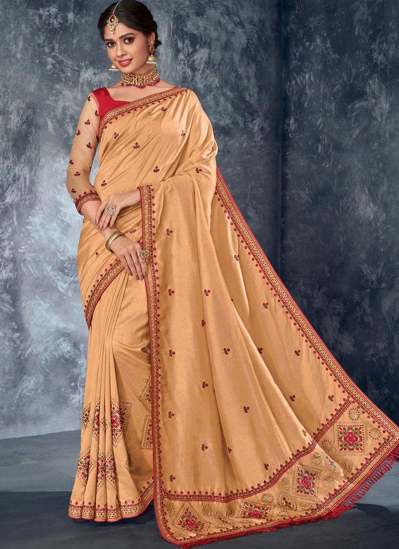 Embroidered Cream Designer Saree