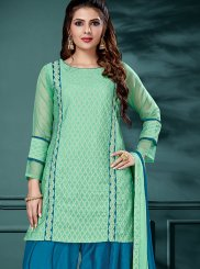 Embroidered Cream Jacquard Salwar Suit
