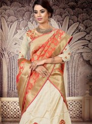Embroidered Cream Silk Designer Lehenga Choli