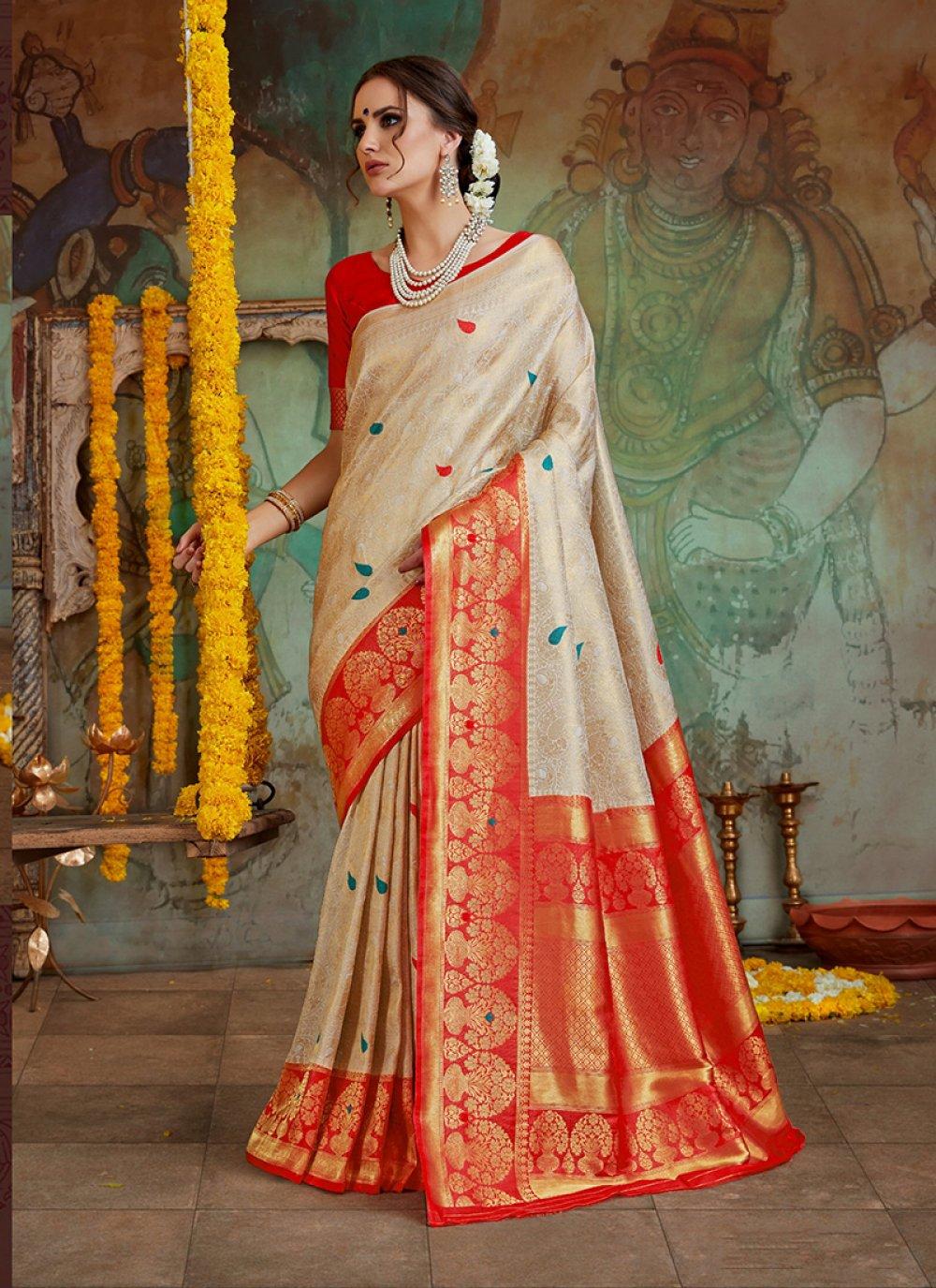 Embroidered Crimson Art Silk Classic Designer Saree