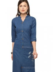 Embroidered Denim Party Wear Kurti in Blue