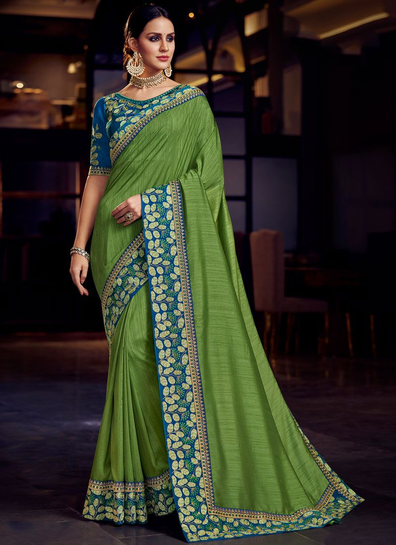 Embroidered Fancy Fabric Classic Designer Saree in Green
