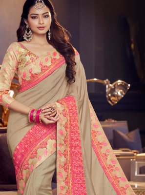 Embroidered Fancy Fabric Classic Designer Saree in Grey and Pink