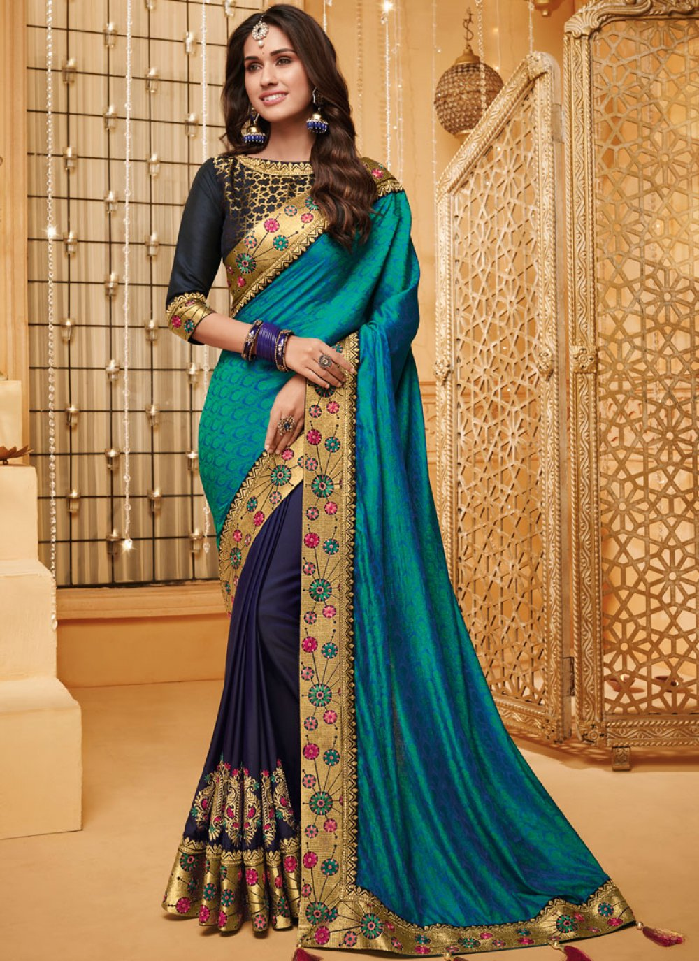 Embroidered Fancy Fabric Classic Saree