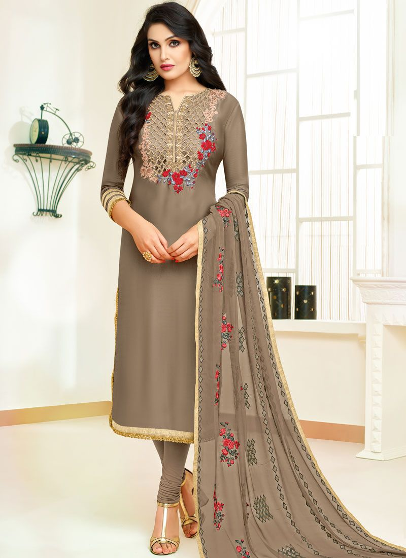 Embroidered Fancy Fabric Designer Straight Suit in Beige