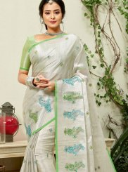 Embroidered Fancy Fabric Grey and Sea Green Classic Saree