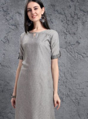 Embroidered Fancy Fabric Grey Casual Kurti