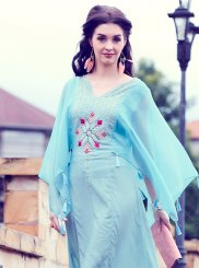 Embroidered Fancy Fabric Party Wear Kurti in Blue