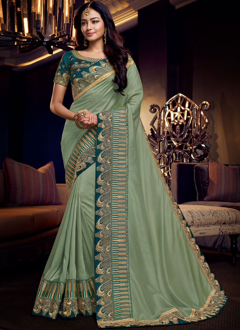 Embroidered Fancy Fabric Sea Green Traditional Designer Saree