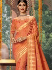 Embroidered Fancy Fabric Traditional Designer Saree in Orange