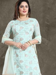 Embroidered Faux Chiffon Aqua Blue Designer Palazzo Suit