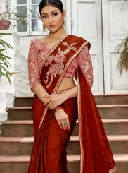 Embroidered Faux Chiffon Classic Designer Saree in Red
