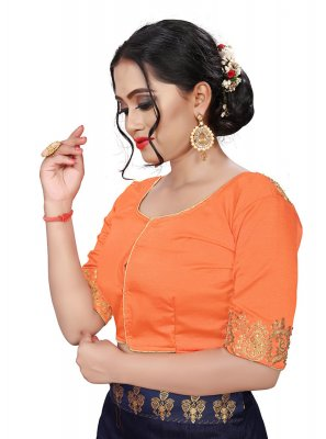 Embroidered Faux Chiffon Designer Blouse in Orange