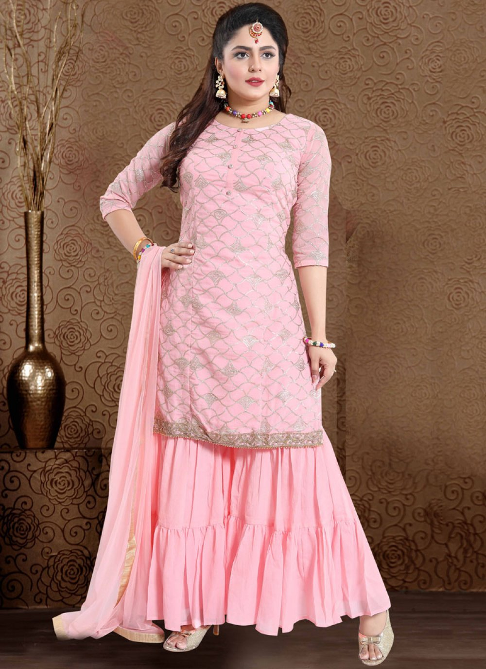 Embroidered Faux Chiffon Designer Palazzo Salwar Suit in Pink