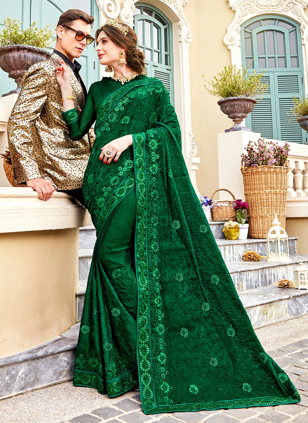 Embroidered Faux Chiffon Green Classic Saree