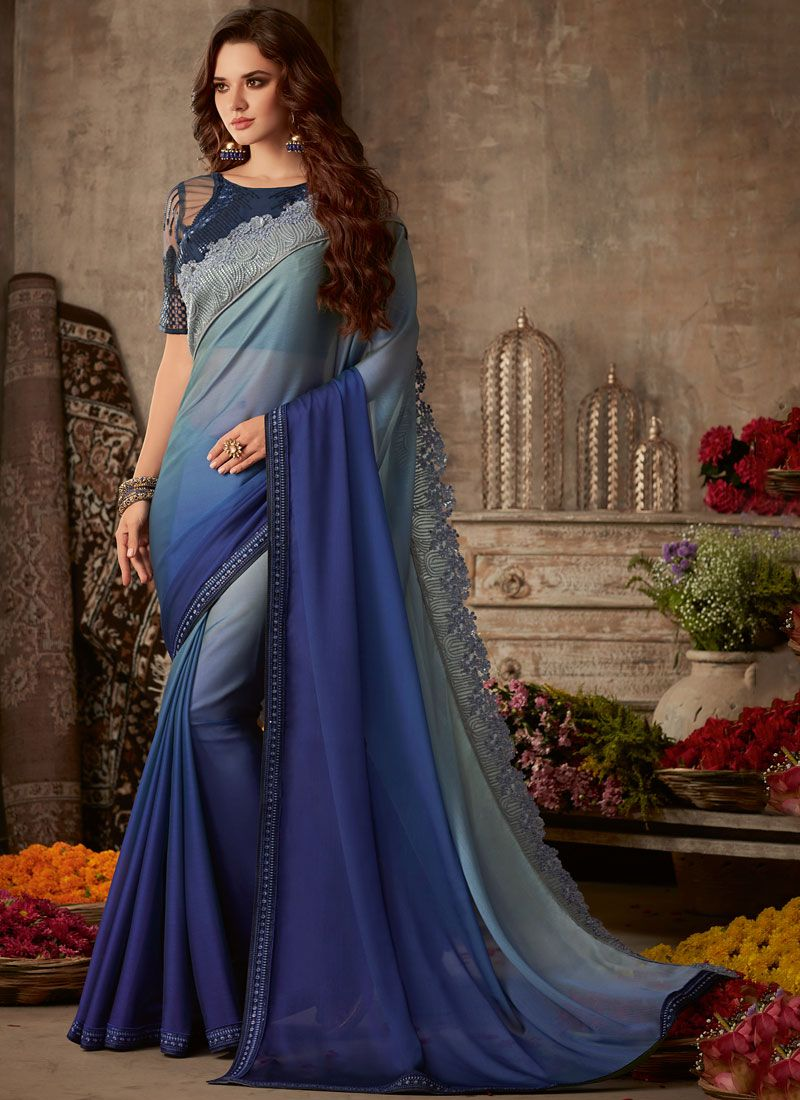Embroidered Faux Chiffon Traditional Saree in Blue