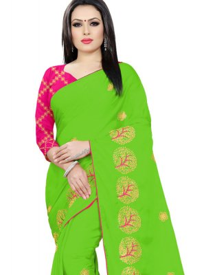 Embroidered Faux Chiffon Trendy Saree