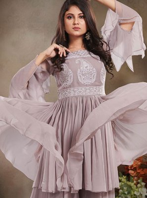 Embroidered Faux Crepe Designer Salwar Kameez in Grey