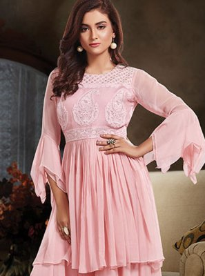 Embroidered Faux Crepe Designer Salwar Suit in Pink