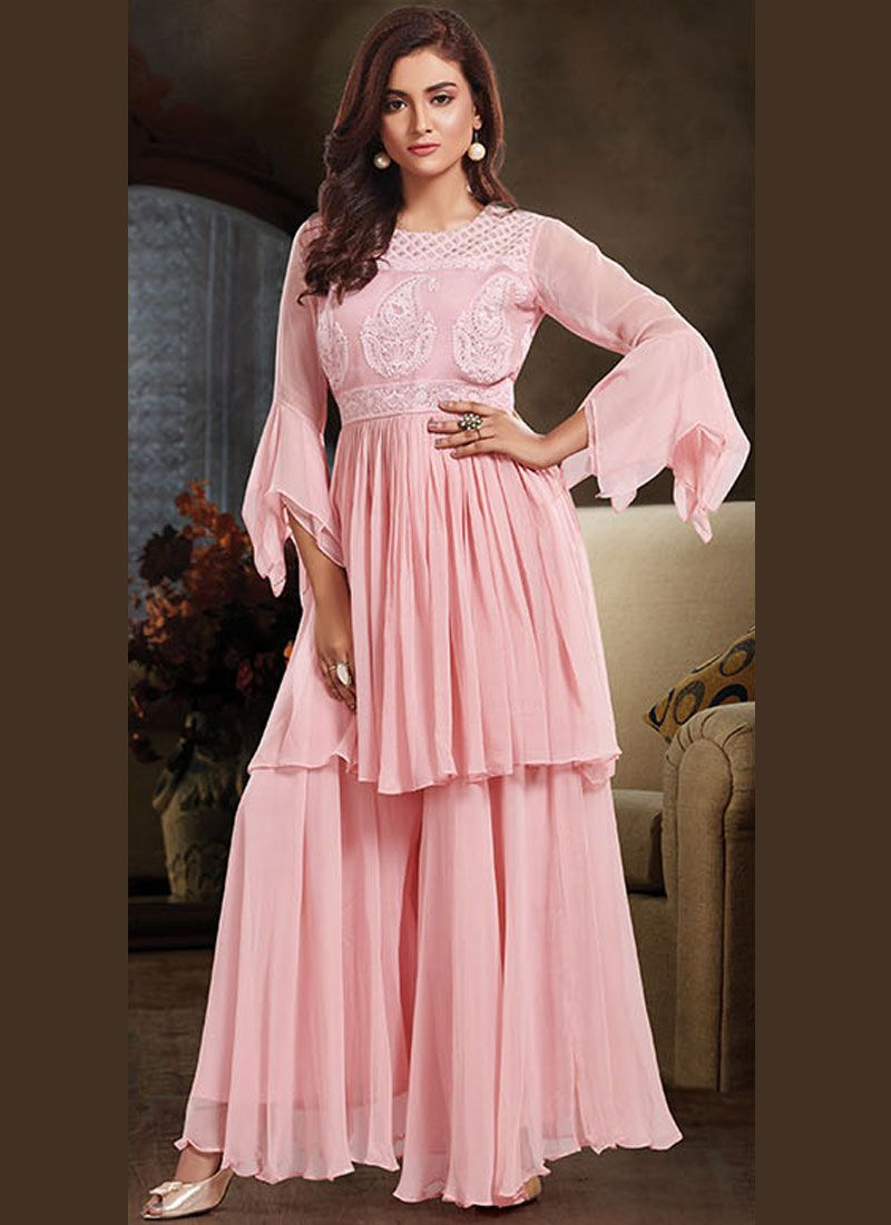 Embroidered Faux Crepe Designer Salwar Suit in Pink