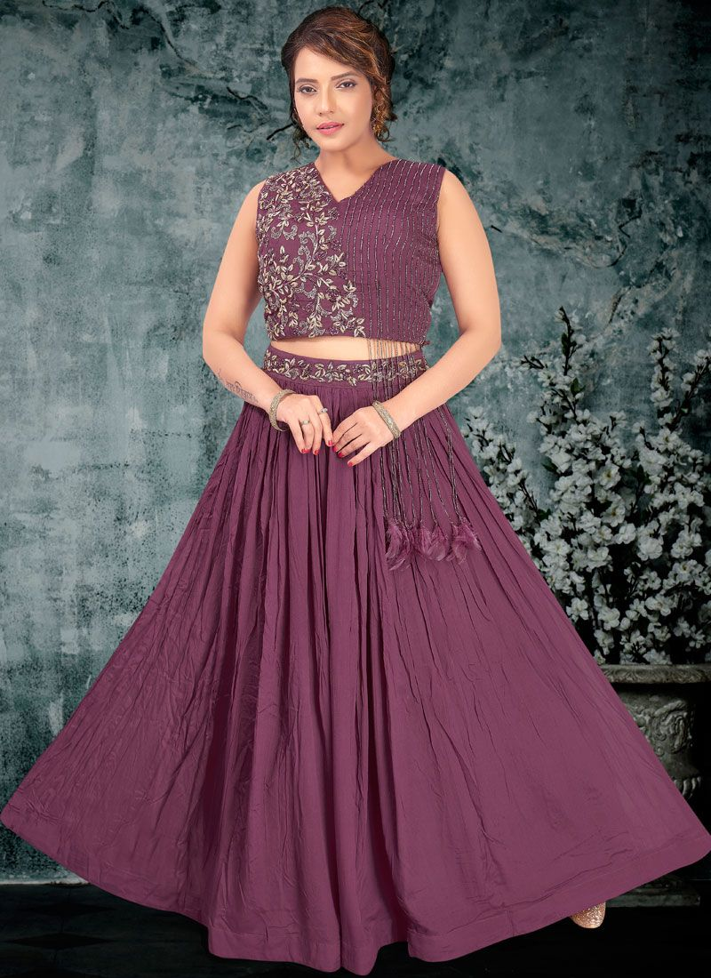 Embroidered Faux Georgette A Line Lehenga Choli