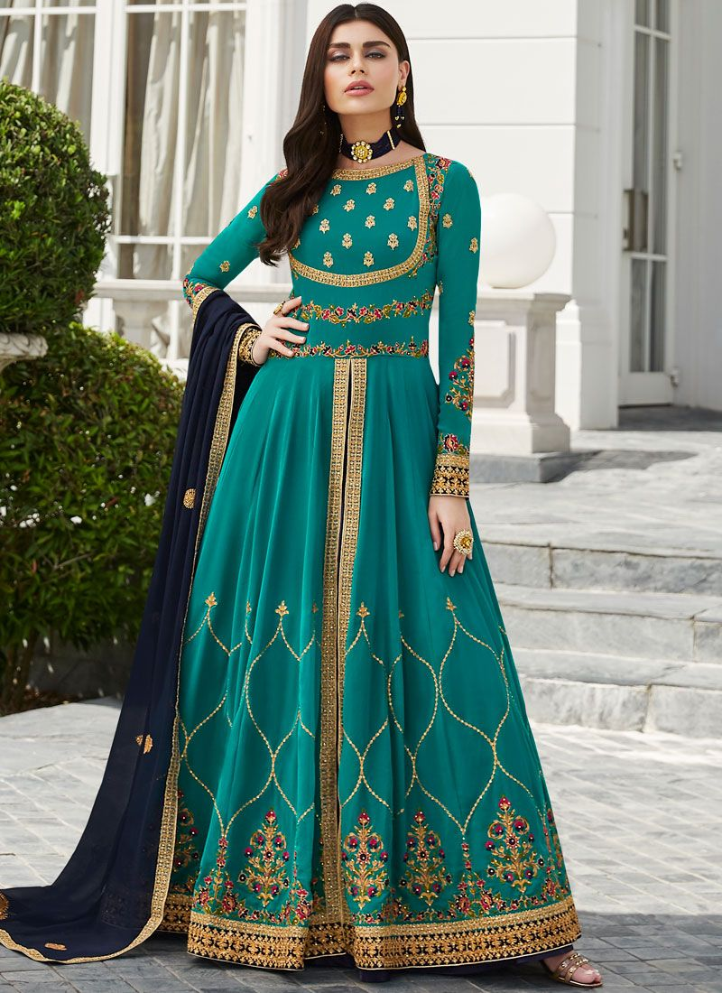Embroidered Faux Georgette Anarkali Salwar Suit