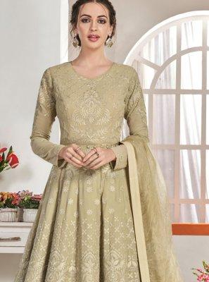 Embroidered Faux Georgette Beige Trendy Anarkali Salwar Suit