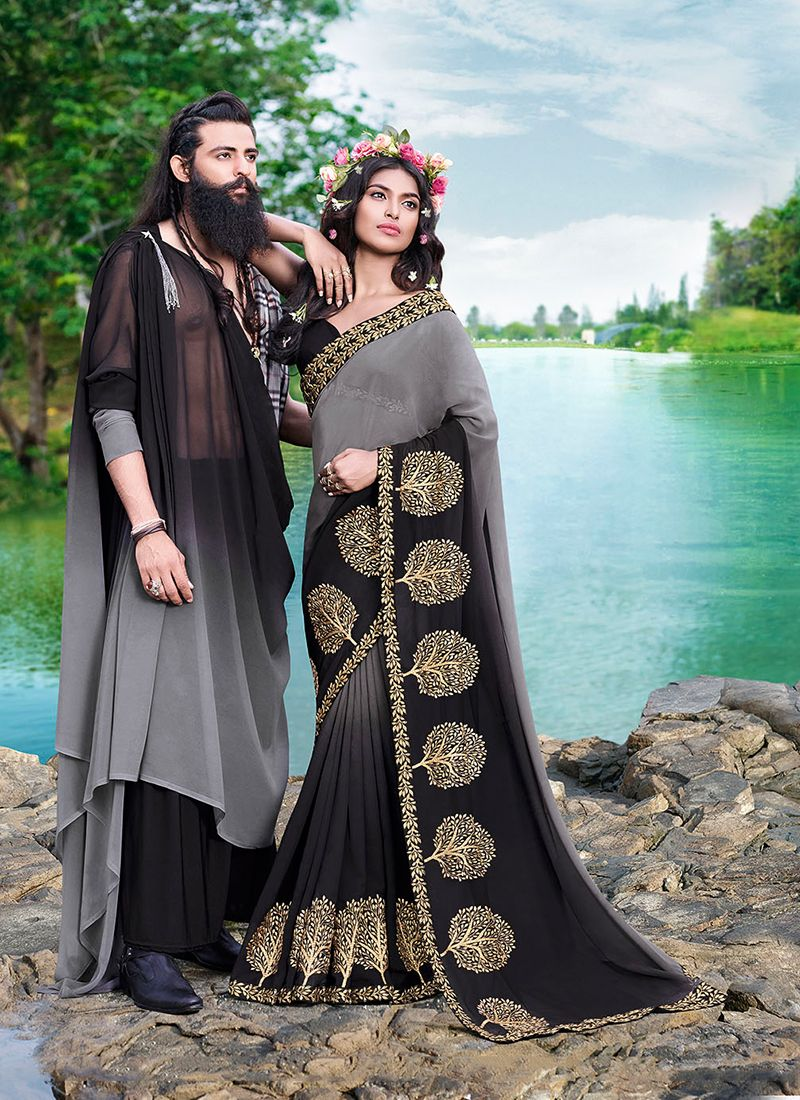 Embroidered Faux Georgette Black Casual Saree