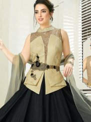 Embroidered Faux Georgette Black Readymade Gown