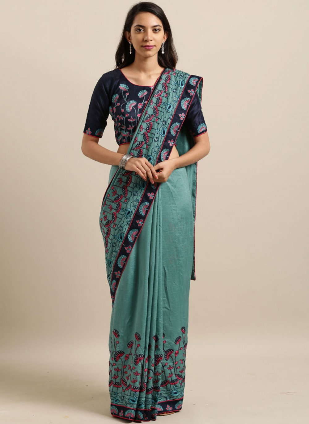Embroidered Faux Georgette Blue Classic Designer Saree